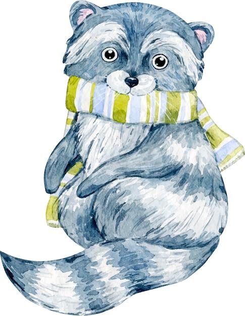 Illustration Aquarelle De Raton Laveur De Noël Hiver Mignon Avec écharpe Vecteur Premium