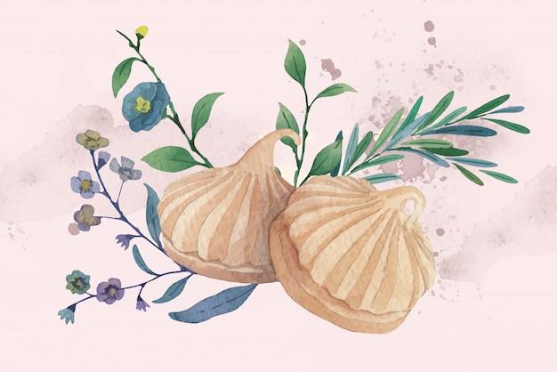 Illustration Aquarelle Réaliste De Biscuits Au Beurre De Noix De Muscade Vecteur Premium