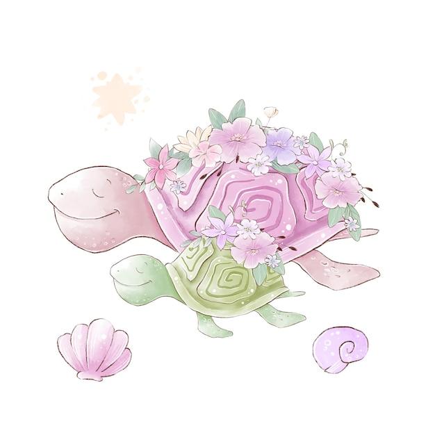 Illustration Aquarelle De Tortues De Mer Maman Et Bébé Avec Des Fleurs Délicates Vecteur Premium