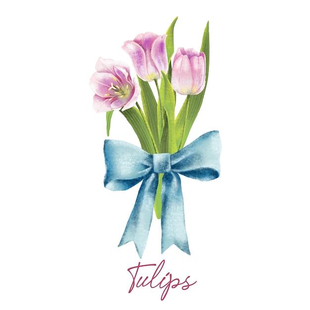 Illustration aquarelle de tulipes roses avec un arc peint à la main Vecteur Premium