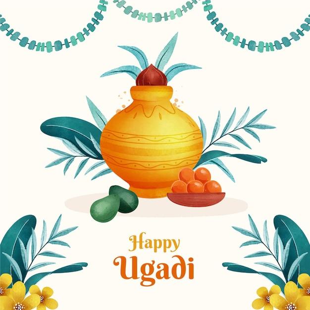 Illustration Aquarelle Ugadi Vecteur Premium