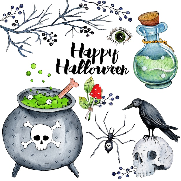 Illustration aquarelle de vecteur pour happy halloween Vecteur Premium