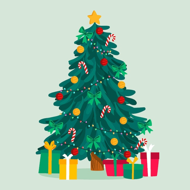 Illustration D'arbre De Noël 2d Vecteur gratuit