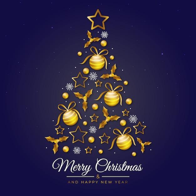 Illustration De L'arbre De Noël Fait D'une Décoration Dorée Réaliste Vecteur gratuit
