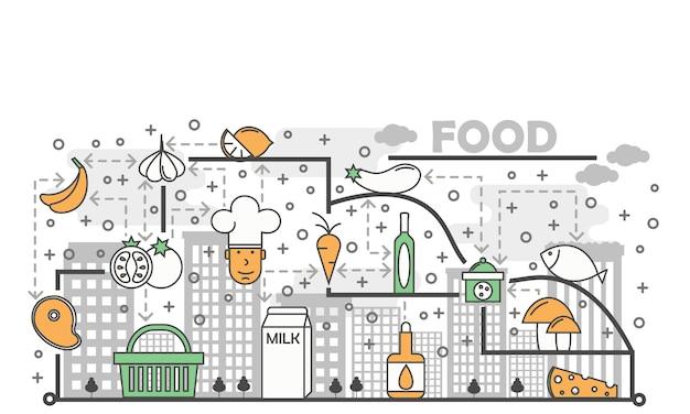 Illustration art alimentaire concept ligne plate Vecteur Premium