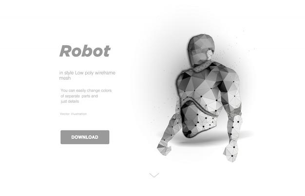 Illustration D'art De Corps De Robot Low Poly. Consept Pour La Sécurité Du Chat Bot Ou Du Cyborg Ou Du Big Data. Sauf Pour L'affiche. Espace Polygonal Low Poly Avec Points Connectés Et Lignes Polygonales Maille Filaire 3d Vecteur Premium
