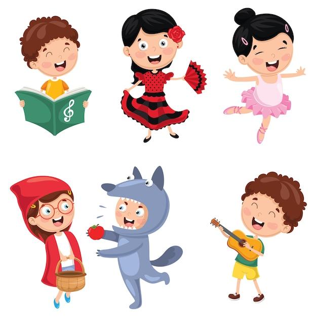 Illustration de l'art des enfants Vecteur Premium
