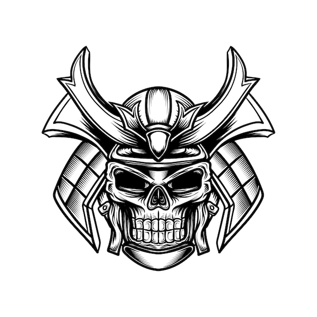 Illustration D'art En Ligne D'un Crâne Avec Un Casque De Samouraï Vecteur Premium