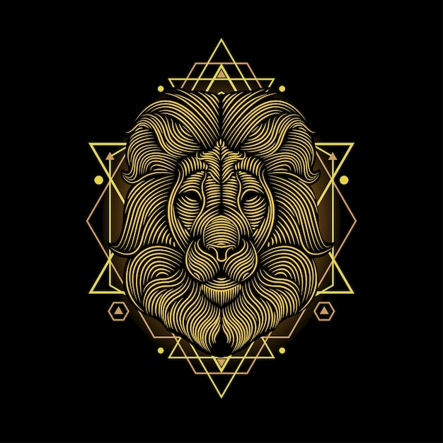 Illustration d'art de ligne de lion Vecteur Premium