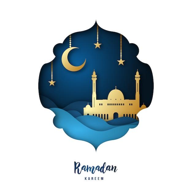 Illustration d'art de papier ramadan kareem. Vecteur Premium