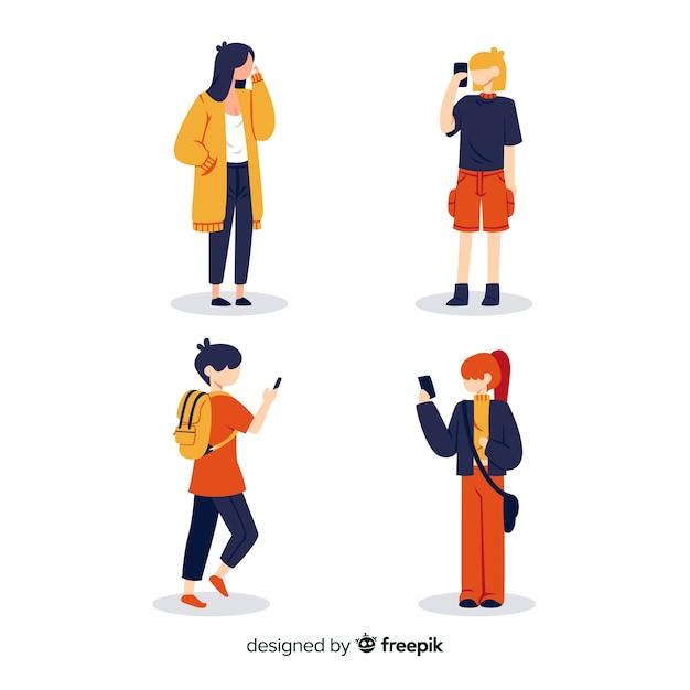 Illustration artistique avec des personnages tenant des mobiles Vecteur gratuit
