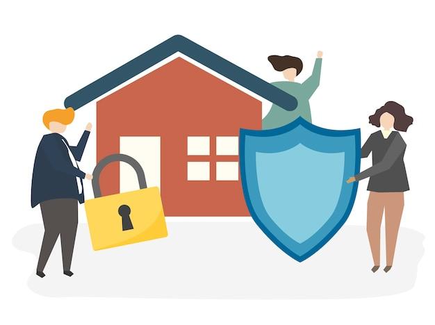 Illustration d'une assurance habitation Vecteur gratuit