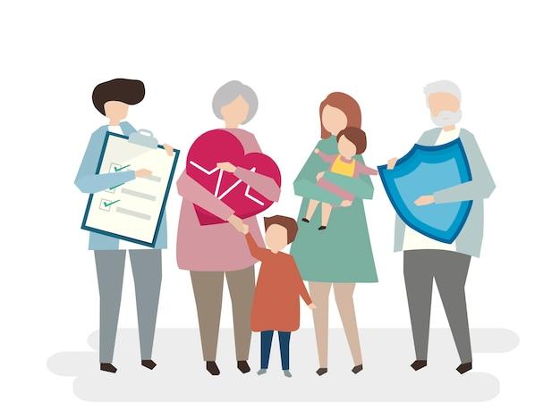 Illustration de l'assurance vie familiale Vecteur gratuit