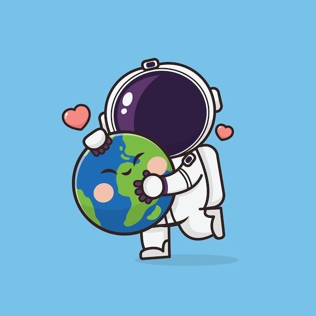 Illustration D'astronaute Mignon Kawaii Vecteur Premium