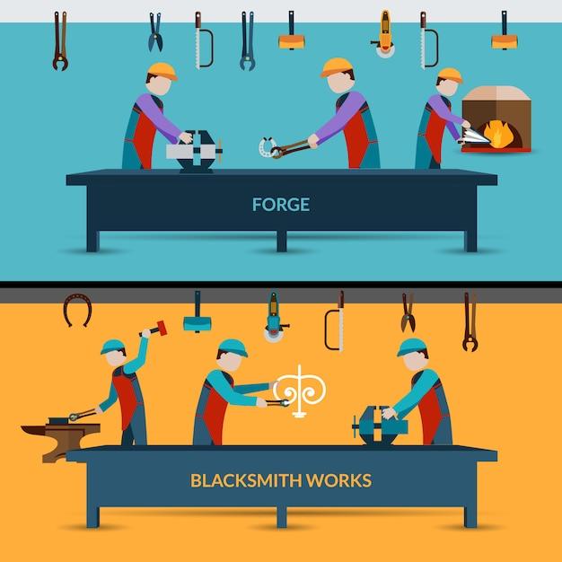 Illustration d'atelier de forgeron Vecteur Premium