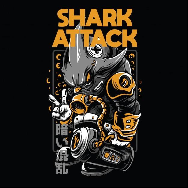 Illustration D'attaque De Requin Vecteur Premium