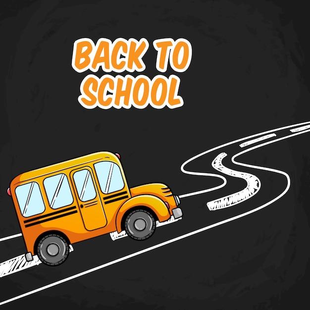Illustration d'autobus scolaire avec doodle road sur tableau noir Vecteur Premium