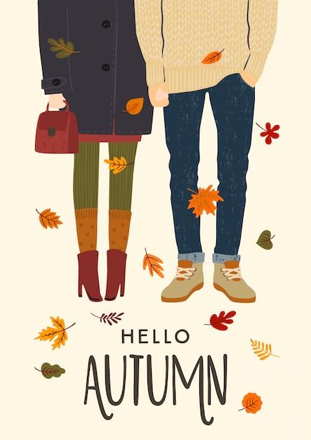 Illustration d'automne avec couple romantique Vecteur Premium