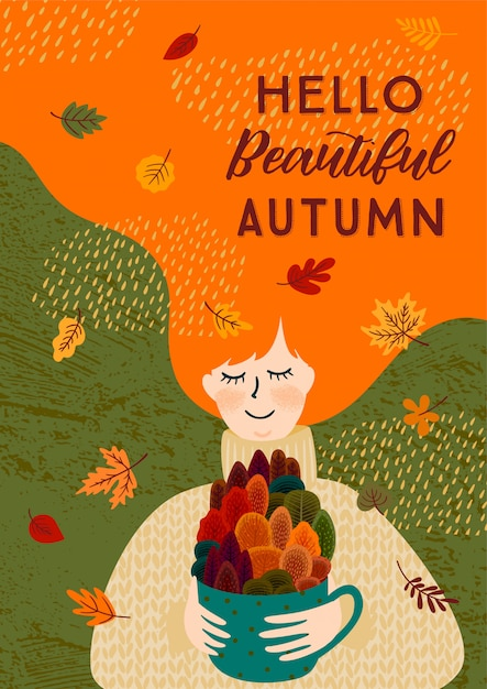Illustration d'automne avec une femme mignonne Vecteur Premium