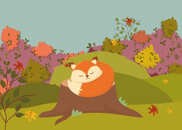 Illustration d'automne de renard mignon avec foulard dormant sur le tronc Vecteur Premium