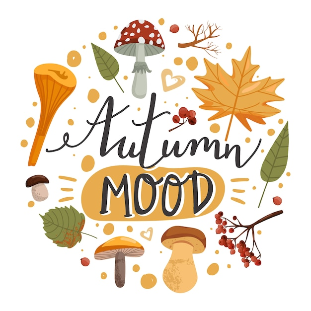Illustration D'automne. Vecteur Premium
