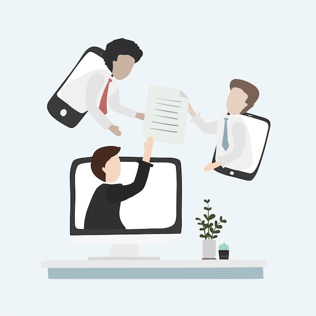 Illustration d'un avatar humain utilisant la technologie Vecteur gratuit