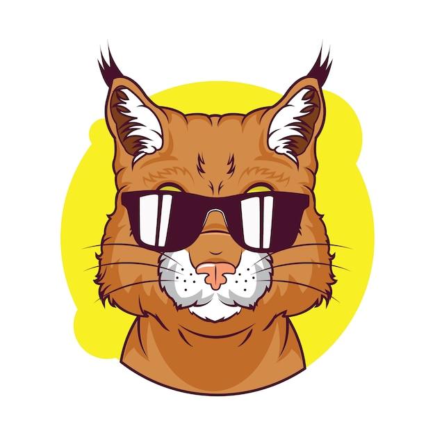 Illustration de l'avatar mignon de lynx roux Vecteur Premium