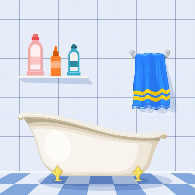Illustration d'une baignoire vintage sur le sol carrelé avec des bouteilles en plastique de shampoing et une serviette bleue sur le mur. style de bande dessinée. ensemble d'éléments pour les soins. salle de bain rétro Vecteur Premium