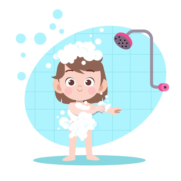 Illustration de bain douche fille kid Vecteur Premium