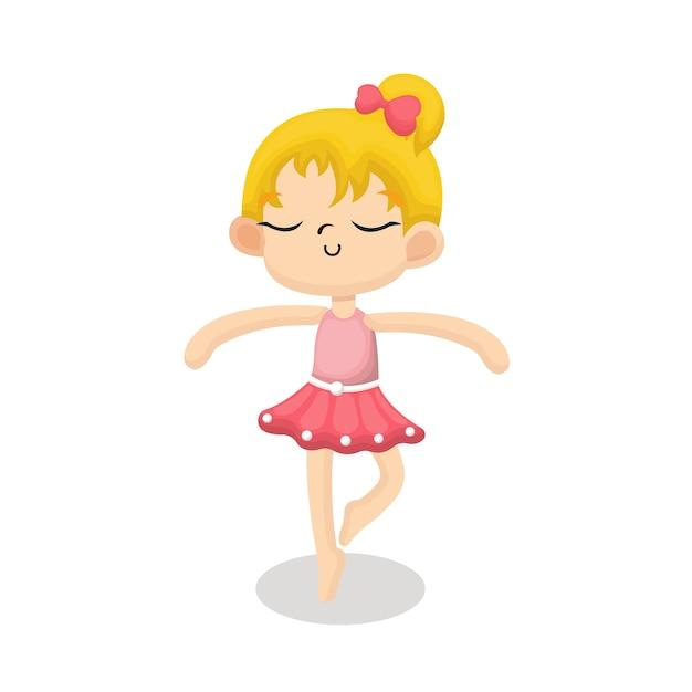 Illustration d'une ballerine mignonne avec un visage heureux dans un style dessin animé Vecteur Premium