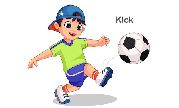 Illustration De Ballon De Football Mignon Garçon Coups De Pied Vecteur Premium