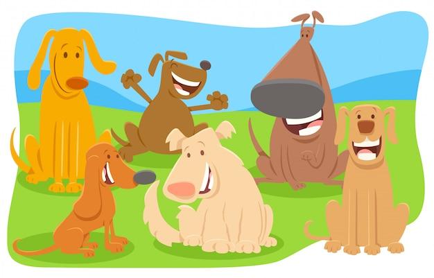Illustration de bande dessinée du groupe de personnages de chiens heureux Vecteur Premium