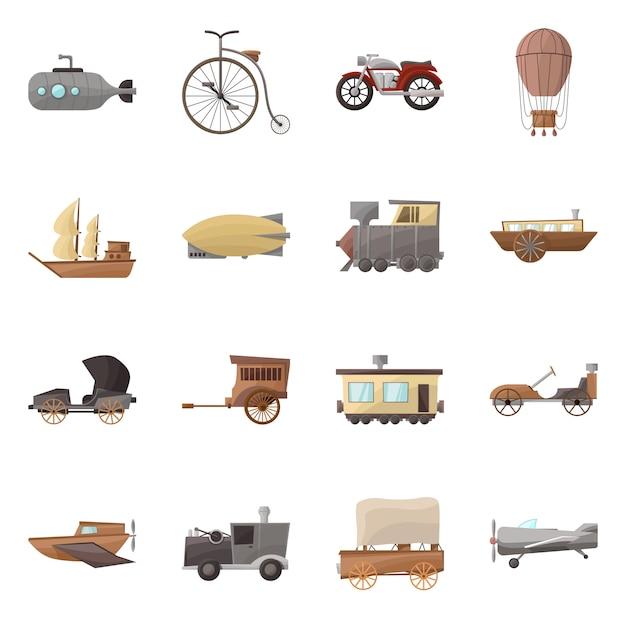 Illustration De Bande Dessinée De Transport Rétro. Définir Des éléments De Transport Anciens Et Vintage. Vecteur Premium