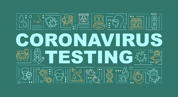 Illustration De Bannière De Concepts De Mot De Test De Coronavirus Vecteur Premium