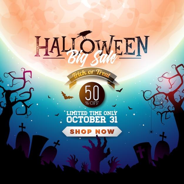 Illustration de bannière halloween vente Vecteur Premium