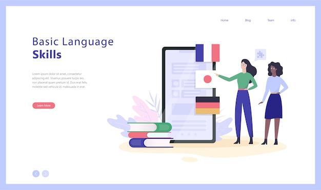 Illustration De Bannière Web Concept Cours De Langue En Ligne Vecteur Premium