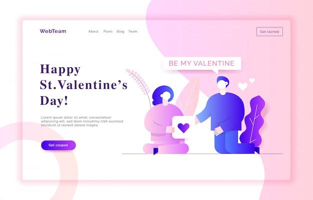 Illustration de bannière web valentin Vecteur Premium