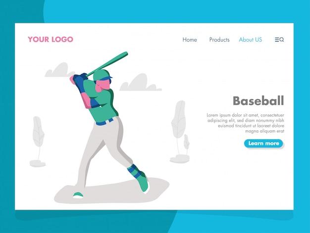 Illustration de baseball pour la page de destination Vecteur Premium