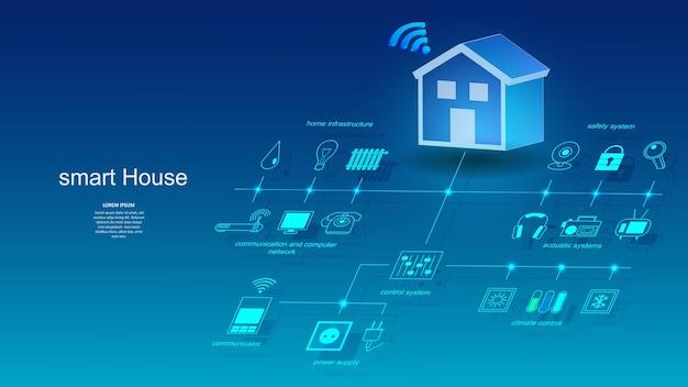Illustration D'un Bâtiment Avec Des éléments D'un Système De Maison Intelligente. Vecteur Premium
