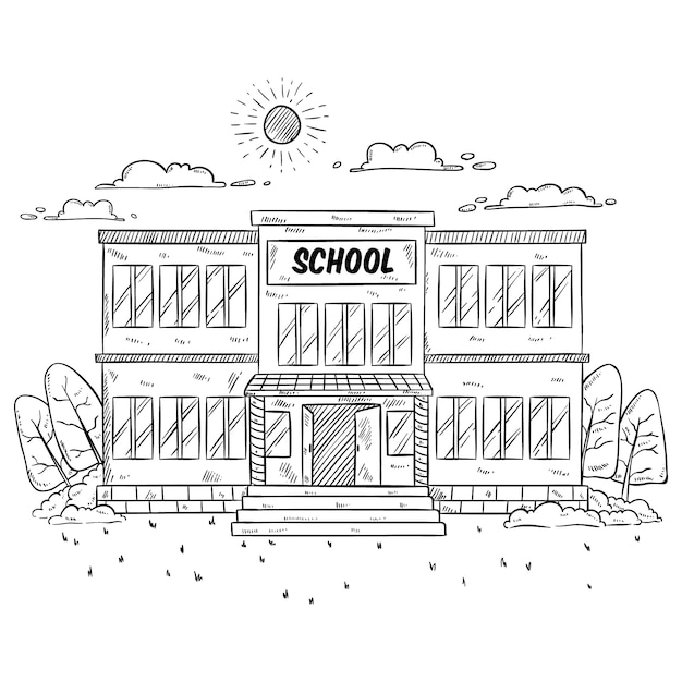 Illustration de bâtiment scolaire avec style dessiné à la main ou fragmentaires sur blanc Vecteur Premium