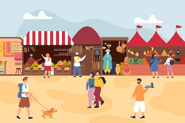 Illustration De Bazar Arabe Avec Des Tentes Vecteur gratuit