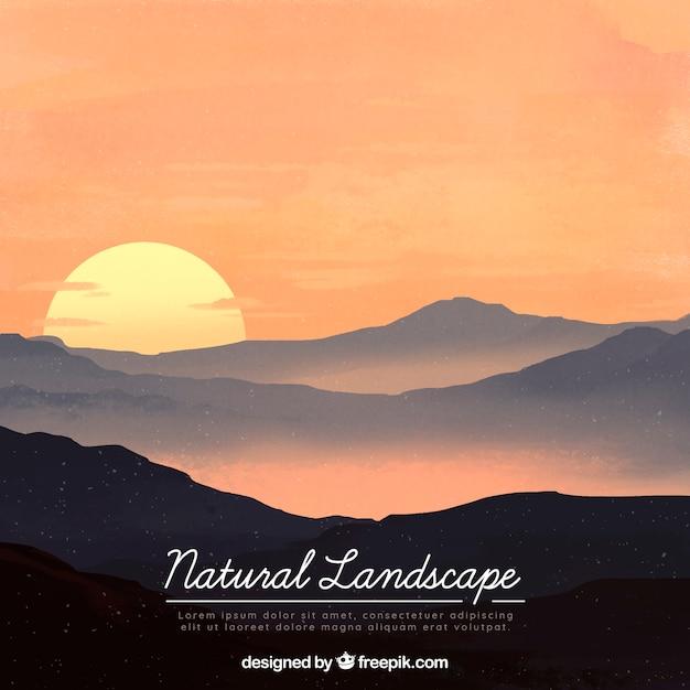 Illustration De Beaux Paysages Naturels Avec Des Montagnes Vecteur Premium