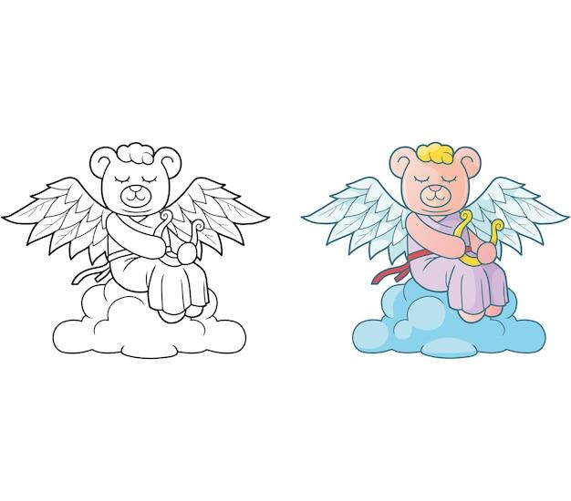Illustration De Bel Ange Ours En Peluche Vecteur Premium