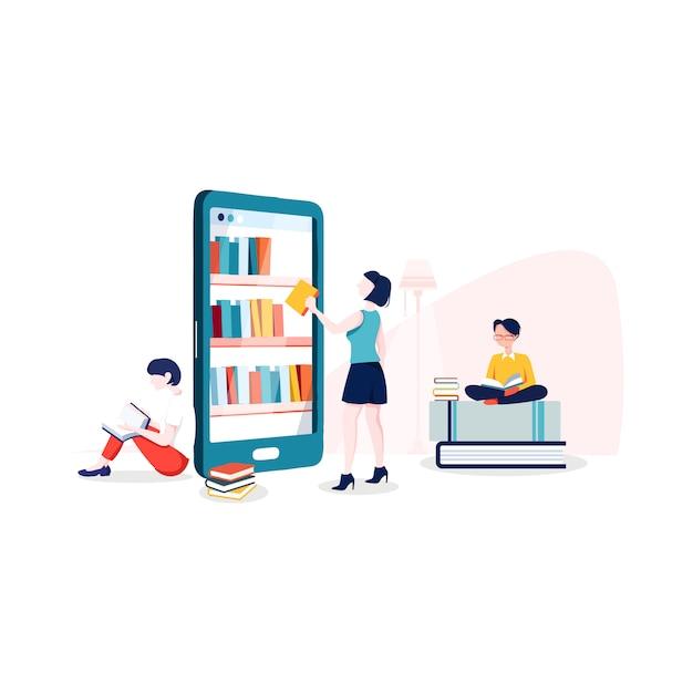 Illustration de la bibliothèque internet dans un style plat Vecteur Premium