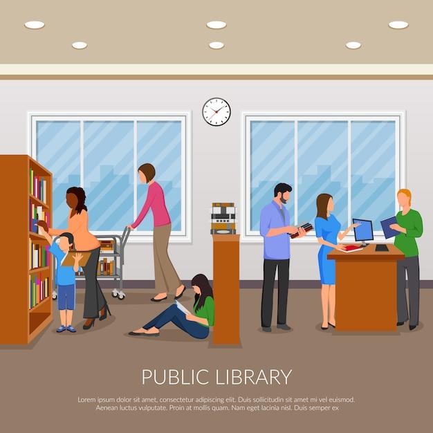Illustration De La Bibliothèque Publique Vecteur gratuit