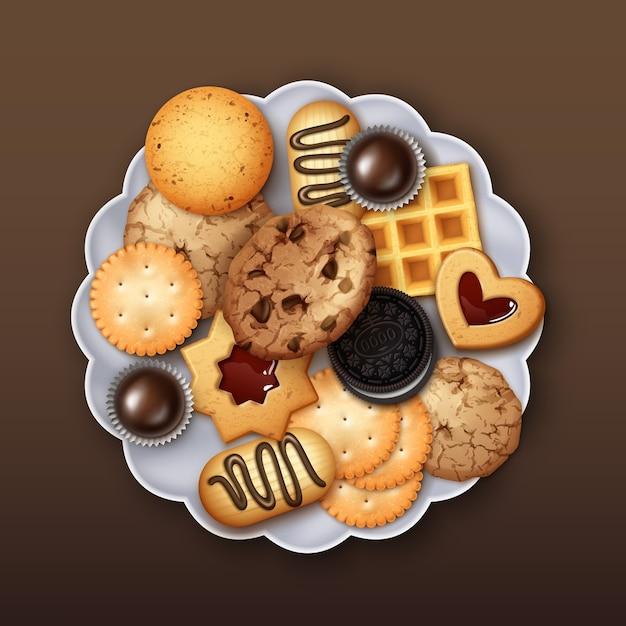 Illustration De Biscuits Réalistes à La Gelée Sucrée, Au Beurre Et Aux Pépites De Chocolat Vecteur Premium