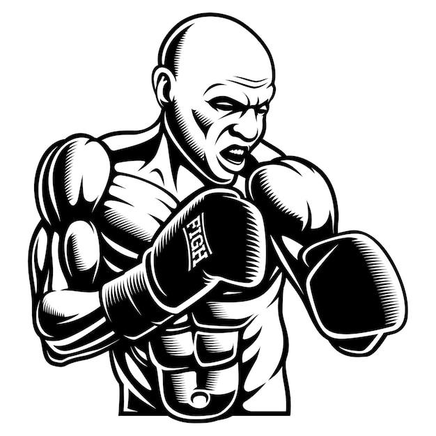 Illustration Blanche Noire De Box Fighter, Sur Le Fond Sombre. Vecteur Premium