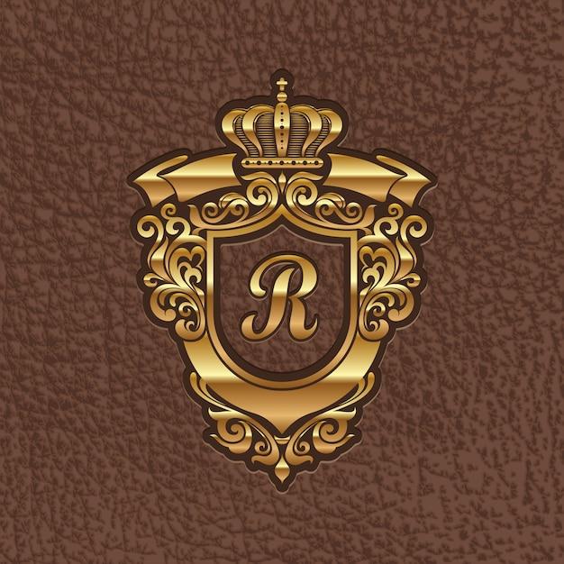 Illustration - Blason Royal Doré Gaufrage Sur Un Cuir Vecteur Premium
