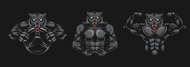 Illustration De Bodybuilder De Loup Vecteur Premium