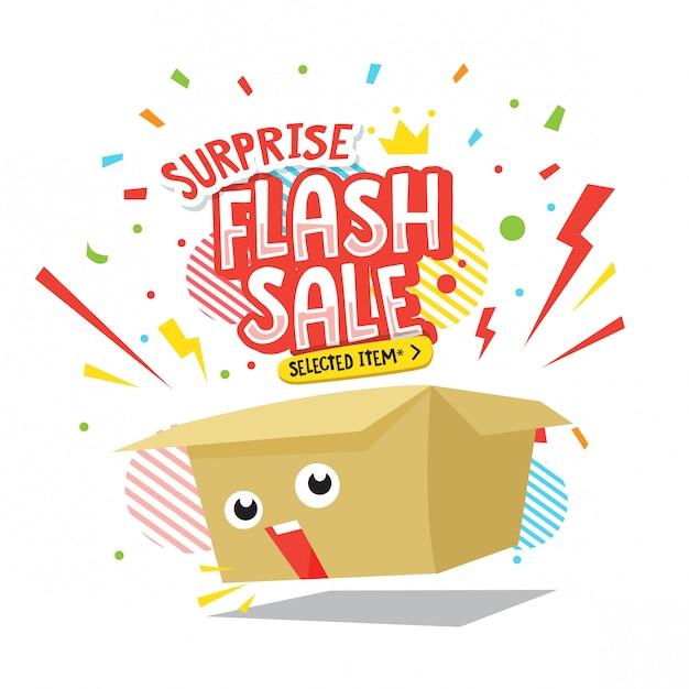 Illustration de boîte de vente flash surprise Vecteur Premium